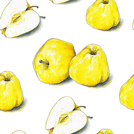 Yellow apples fruits are isolated on a white background. Color sketch felt-tip pens. Healthy food. Handwork. Fast schematic drawing. Seamless pattern for design. Stock Photo
