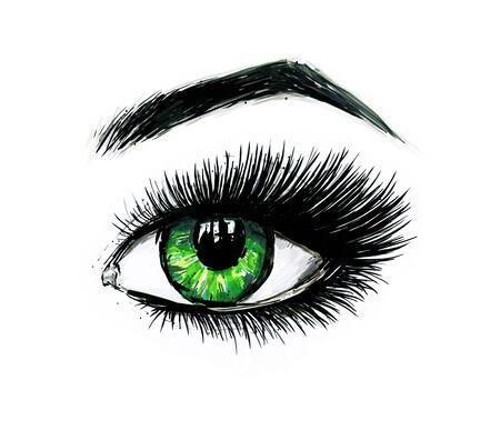 Beautiful open female green eye with long eyelashes is isolated on a white background. Makeup template illustration. Color sketch felt-tip pens. Handwork. Fast schematic drawing