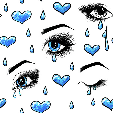 Beautiful open female blue eyes with long eyelashes is isolated on a white background. Makeup template illustration. Color sketch handwork. Tears in the eyes. One-way love. Seamless pattern for design