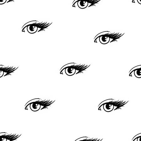 Beautiful open female eyes with long eyelashes is isolated on a white background. Makeup template illustration. Graphic sketch handwork. Seamless pattern for design Stock Photo