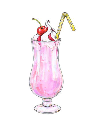 advertizing: Cherry milk shake with whipped cream and jam in a transparent glass with a tubule isolated on a white background. Color drawing markers. Handwork sketch. Vector ice cocktail illustration for design