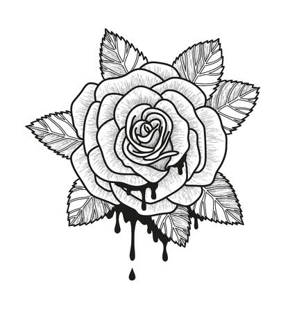 Illustrazione vettoriale monocromatico fiore rosa. Bella rosa isolato su sfondo bianco. Elemento per la progettazione del tatuaggio