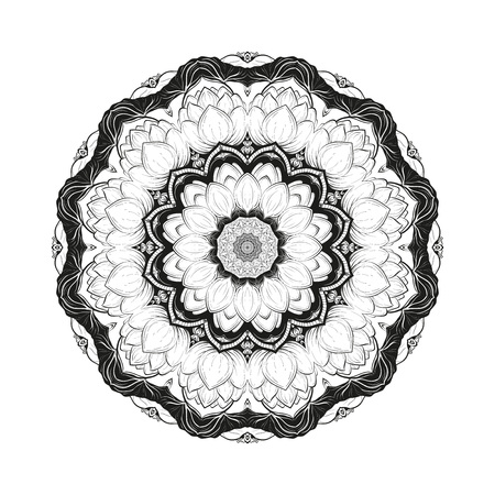 Flower monochrome botanical vector mandala with the blossoming lotus is isolated on a white background. Decorative element with east motives for design. Version of the page for coloring