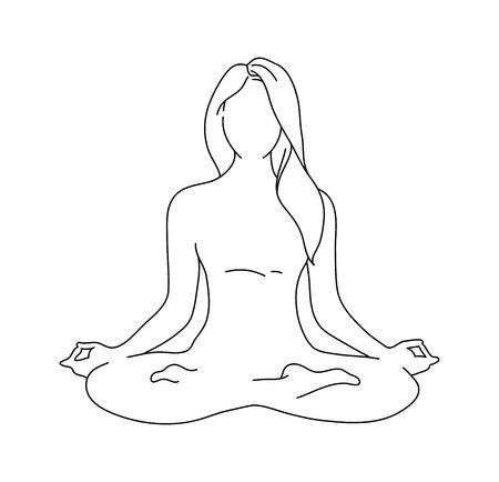 Woman yoga pose. position silhouette. illustration. Meditation monochrome icon