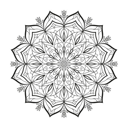 Flower monochrome vector mandala is isolated on a white background. Decorative element with east motives for design. Version of the page for coloring. Abstract geometrical element reminding a New Years snowflake