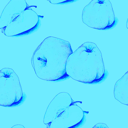 Apples fruits are isolated on a blue background. Sketch felt-tip pens. Healthy food. Handwork. Fast schematic drawing. Seamless pattern for fabric design.