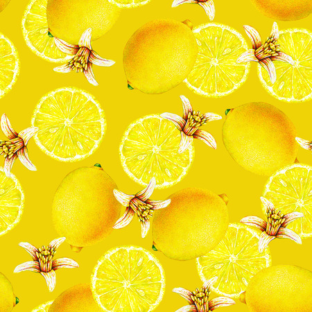 Lemon fruits with flowers isolated on yellow background. Watercolor drawing seamless pattern for design Stock Photo