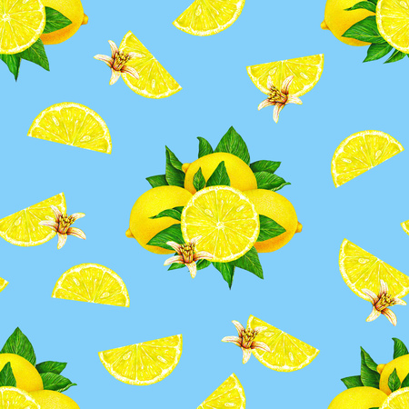 Lemon fruits with flowers isolated on a blue background. Watercolor drawing seamless pattern for design Stock Photo