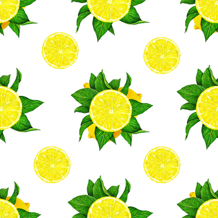 Lemon fruits with green leaves isolated on white background. Watercolor drawing seamless pattern for design Stock Photo