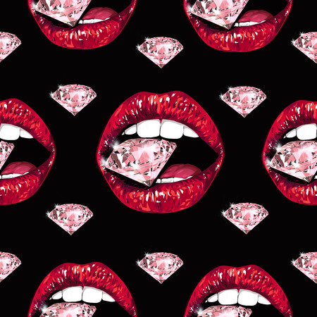 Bright lips holding a sparkling brilliant. Seamless pattern. Realistic graphic drawing. Background. Black color Stock Photo