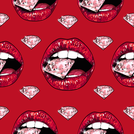 Bright lips holding a sparkling brilliant. Seamless pattern. Realistic graphic drawing. Background. Red color Stock Photo