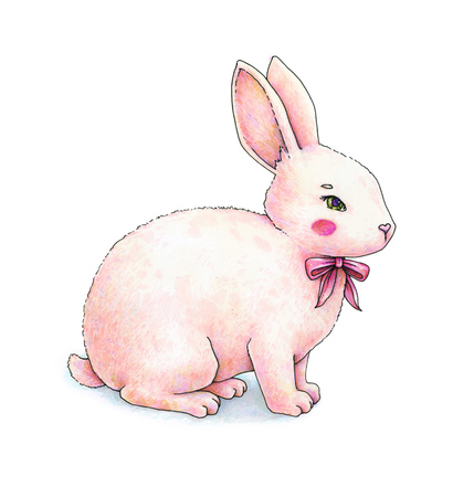 Lovely pink animation hare with a bow is isolated on a white background. Childrens fantastic drawing. Handwork color drawing markers. Stock Photo