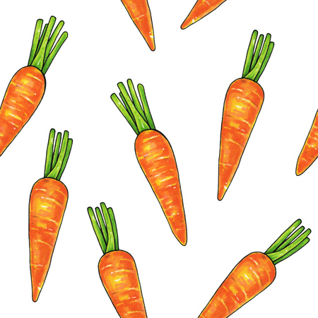 Carrots on a white background. Color drawing markers. Agricultural vegetable. Seamless pattern