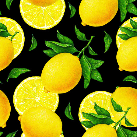 Yellow lemon fruits on a branch with green leaves on a black background. Watercolor drawing seamless pattern for textile print design