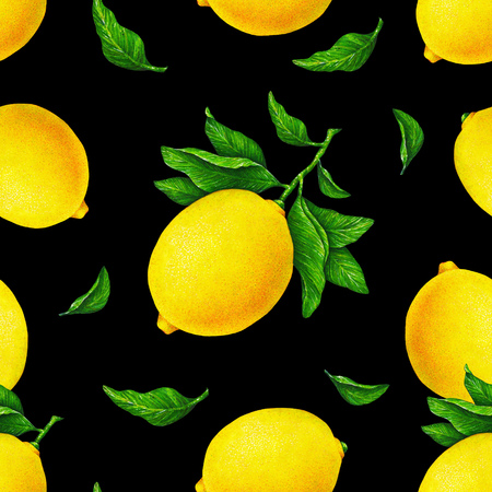 Illustration of beautiful yellow lemon fruits on a branch with green leaves on an black background. Watercolor drawing seamless pattern for design