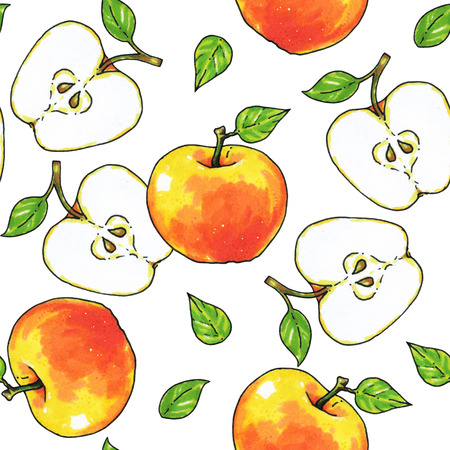 Apples fruits are isolated on a white background. Healthy food. Handwork. Seamless pattern for design. Stock Photo