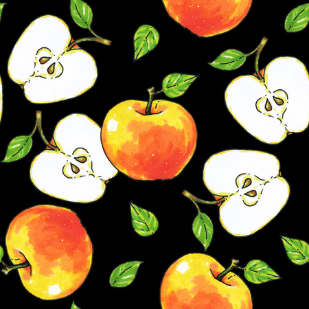 Apples fruits are isolated on a black background. Healthy food. Handwork. Seamless pattern for design.