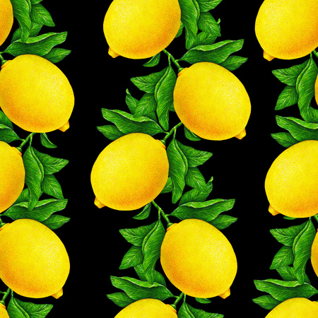Great illustration of beautiful yellow lemon fruits on a branch with green leaves isolated on a black background. Water color drawing seamless pattern for design