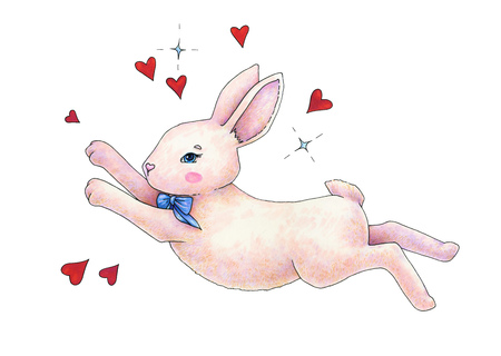 Lovely pink animation hare with a bow is isolated on a white background. Childrens fantastic drawing. Handwork color drawing markers. Rabbit in love