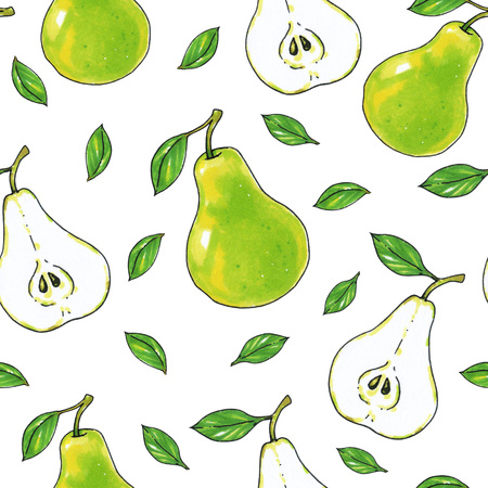 Green pears fruits are isolated on a white background. Healthy food. Handwork. Seamless pattern for design.