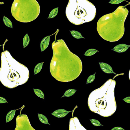 Green pears fruits on a black background. Healthy food. Handwork. Seamless pattern for design