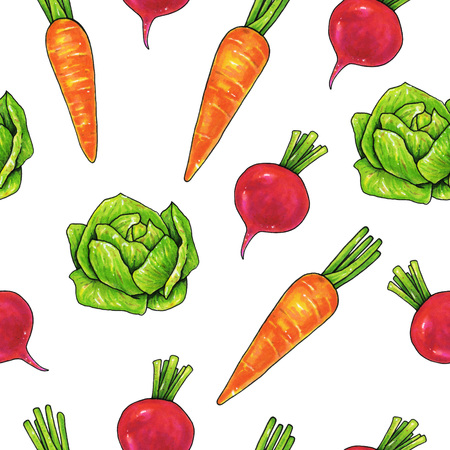 Garden radish carrots cabbage on a white background. Color drawing markers. Agricultural vegetable. Seamless pattern for design Stock Photo