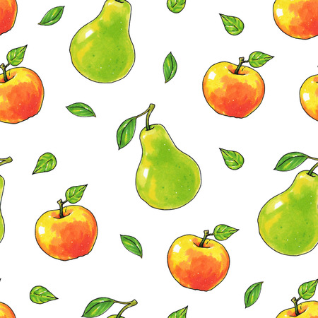 Pears and apples fruits are isolated on a white background. Healthy food. Handwork. Seamless pattern for design
