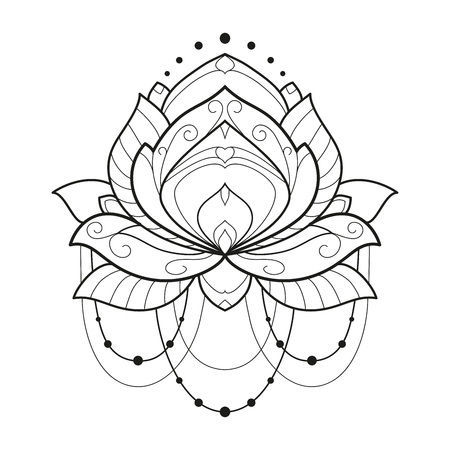 Lotus flower monochrome geometrical vector illustration is isolated on a white background. Symmetric decorative element with east motives for design. Version of the page for coloring Illustration
