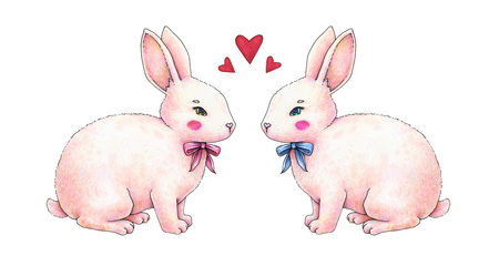 Lovely pink animation rabbit bunny hare with a bow in love is isolated on a white background. Children fantastic drawing. Handwork drawing markers.