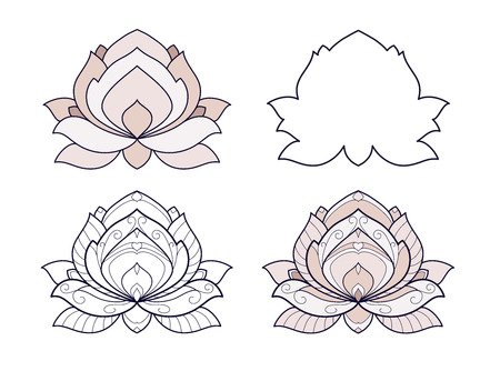 Lotus flower set vector illustration isolated on a white background. Symmetric decorative element with east motives for design