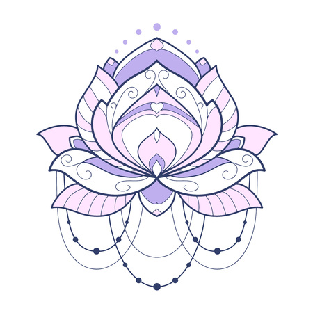 Pink lotus flower geometrical vector illustration is isolated on a white background. Symmetric decorative element with east motives for design