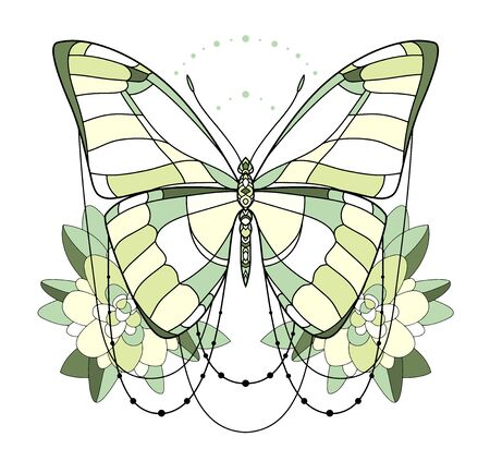 Beautiful  green butterfly icon. Vector illustration is isolated on a white background. Insects art. Decorative element with for design. Illustration