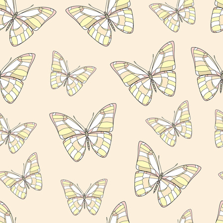 Butterflies on an orange background. Vector set illustration. Insects art drawing. Seamless pattern for fabric design