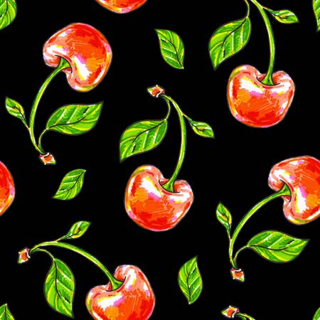 Cherry sweet on a black background. Seamless pattern for design. Animation illustrations. Handwork drawing markers