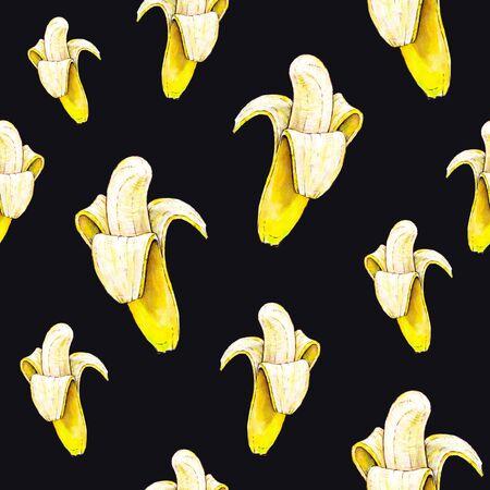 Bananas on black background. Seamless pattern. Watercolor illustration. Tropical fruit. Handwork Stock Photo