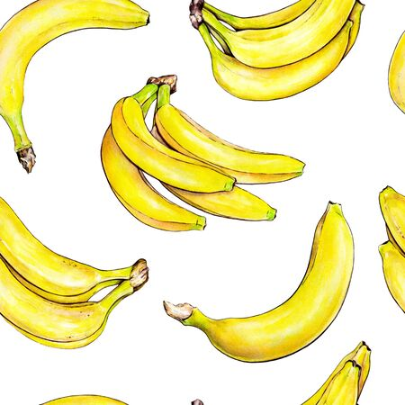 Bananas on white background. Seamless pattern. Watercolor illustration. Tropical fruit. Handwork Stock Photo