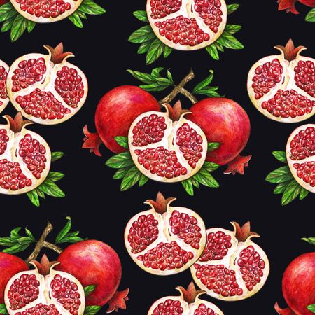 Ripe fruit of red pomegranate on a branch is isolated on a black background. Watercolor illustration of pomegranate and green leaves. Hand drawn watercolor painting. Seamless pattern Stock Photo