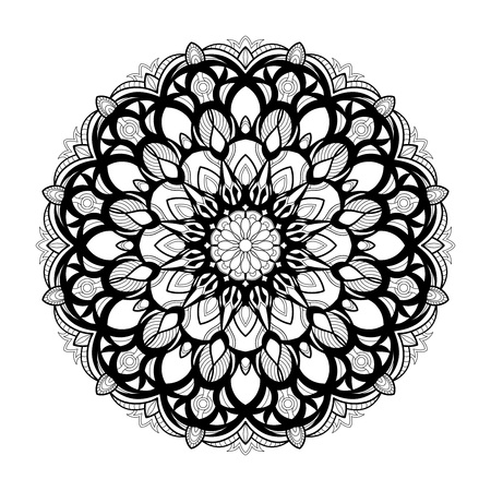 Monochrome geometrical vector mandala is isolated on a white background. Decorative element with east motives for design mehndi. Version of the page for colouring