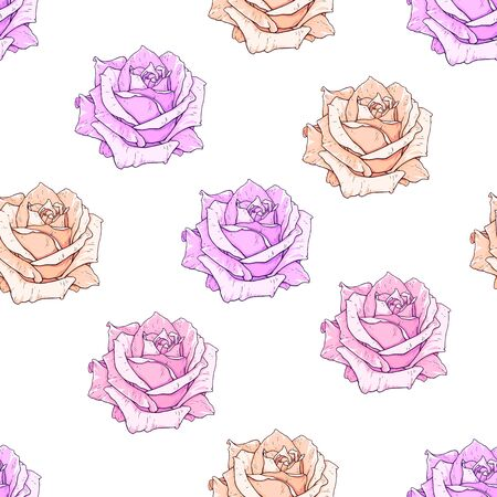Vector pink roses seamless background. Flowers illustration front view. Pattern in romantic style for design of fabrics Stock Photo