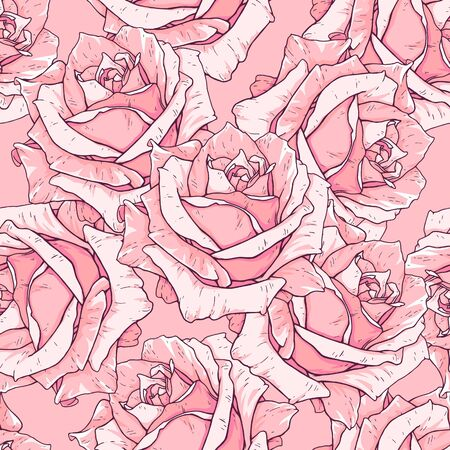 Drawn pink roses seamless background. Flowers illustration front view. Pattern in romantic style for design of fabrics