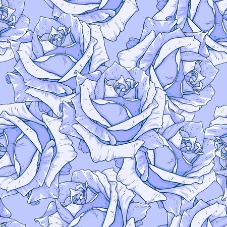 Drawn blue roses seamless background. Flowers illustration front view. Pattern in romantic style for design of fabrics Stock Photo