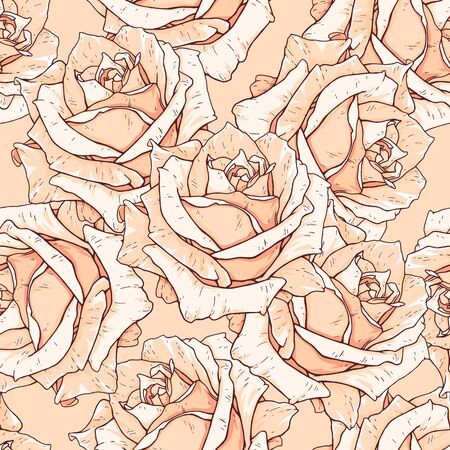 Drawn beige roses seamless background. Flowers illustration front view. Pattern in romantic style for design of fabrics