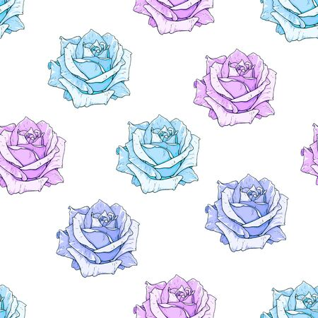 Drawn roses seamless background. Flowers illustration front view. Pattern in romantic style for design of fabrics