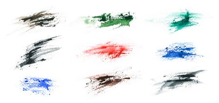 Grunge color splashes isolated on a white background. Texture shape for design. Abstract art drawing. Handwork