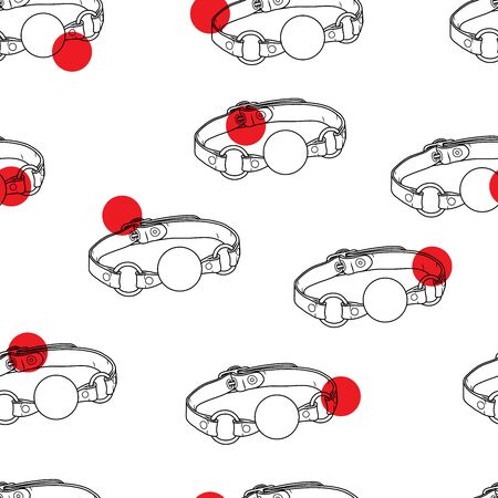 Vector ball gag sex toy on a white background. Contour illustration. Seamless pattern for sexy design