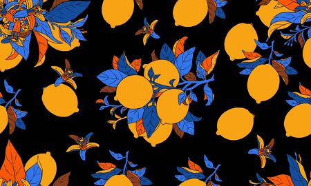 Illustration of beautiful pop art lemon fruits on a branch with blue leaves on an black background. Vector drawing seamless pattern for design