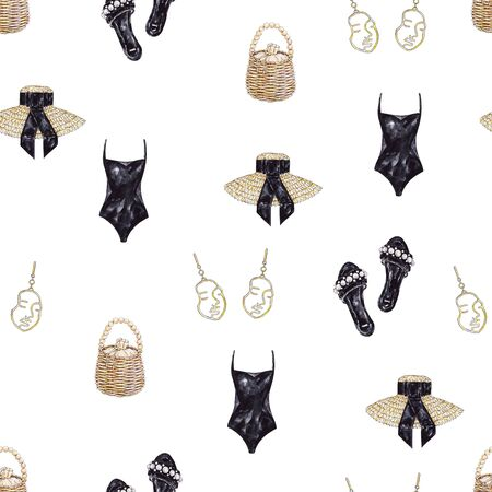 Set of watercolor garments isolated on white background. Set of beachwear. Handwork fashion draw. Seamless pattern for design. Banco de Imagens - 150079792