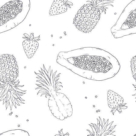 Exotic tropical fruit are isolated on a white background. Vector illustration. Seamless pattern for design.