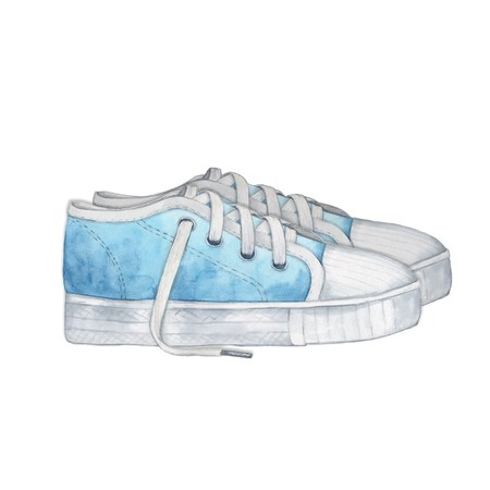 blue shoes: Blue shoes. Isolated on white. Handmade drawing. Watercolor