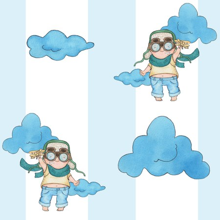 role play: Little pilot 3. Watercolor painting. Seamless pattern. Handmade drawing. Stock Photo